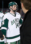 Mike Hoban (Babson - 14) - The Norwich University Cadets defeated the Babson College Beavers 4-1 on Friday, January 13, 2011, at Fenway Park in Boston, Massachusetts.