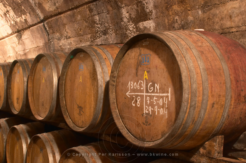 Wine aging in barrels. Oak barrel aging and fermentation cellar. Torres Penedes Catalonia Spain
