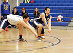 Oxford, CT- 21 April 2017-042117CM07-  Oxford's Jake Suttile, left, and Thomas Mattutini go for the ball during their volleyball matchup against Shelton in Oxford on Friday.       Christopher Massa Republican-American
