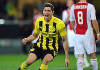 FUSSBALL   CHAMPIONS LEAGUE   SAISON 2012/2013   GRUPPENPHASE   Borussia Dortmund - Ajax Amsterdam                            18.09.2012 Robert Lewandowski (Borussia Dortmund) bejubelt seinen Treffer zum 1:0