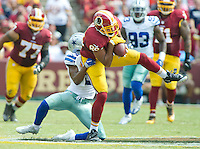 Washington Redskins tight end Jordan Reed (86) makes a reception in the second quarter against Dallas Cowboys free safety Byron Jones (31) at FedEx Field in Landover, Maryland on Sunday, September 18, 2016.<br /> Credit: Ron Sachs / CNP /MediaPunch