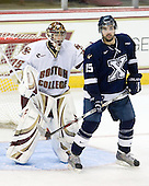 Parker Milner (BC - 35), Bryce Swan (StFX - 15) - The Boston College Eagles defeated the St. Francis Xavier University X-Men 4-1 in their exhibition match on Sunday, October 4, 2009, at Conte Forum in Chestnut Hill, Massachusetts.