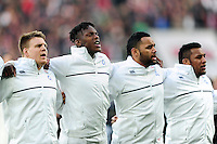 Paul Hill, Maro Itoje, Billy Vunipola and Mako Vunipola of England sing the national anthem. RBS Six Nations match between England and Ireland on February 27, 2016 at Twickenham Stadium in London, England. Photo by: Patrick Khachfe / Onside Images