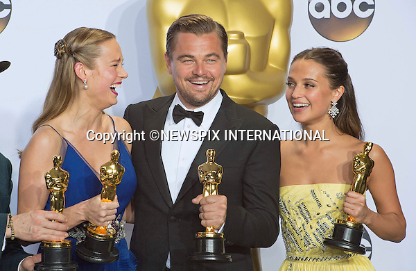 28.02.2016; Hollywood, California: BRIE LARSON, LEONARDO DICAPRIO, ALICIA VIKANDER AND MARK RYLANCE<br /> winners of the main Oscars at the 88th Annual Academy Awards at the Dolby Theatre&reg; at Hollywood &amp; Highland Center&reg;, Los Angeles.<br /> Mandatory Photo Credit: &copy;Steph Dias/NEWSPIX INTERNATIONAL<br /> <br /> PHOTO CREDIT MANDATORY!!: NEWSPIX INTERNATIONAL(Failure to credit will incur a surcharge of 100% of reproduction fees)<br /> <br /> **ALL FEES PAYABLE TO: &quot;NEWSPIX INTERNATIONAL&quot;**<br /> <br /> PHOTO CREDIT MANDATORY!!: NEWSPIX INTERNATIONAL(Failure to credit will incur a surcharge of 100% of reproduction fees)<br /> <br /> IMMEDIATE CONFIRMATION OF USAGE REQUIRED:<br /> Newspix International, 31 Chinnery Hill, Bishop's Stortford, ENGLAND CM23 3PS<br /> Tel:+441279 324672  ; Fax: +441279656877<br /> Mobile:  0777568 1153<br /> e-mail: info@newspixinternational.co.uk
