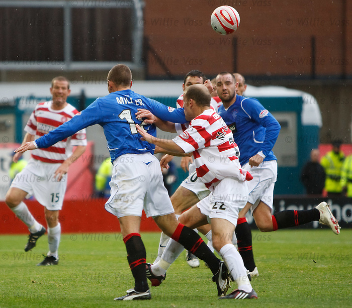 Kenny Miller shoved by Trent McLenahan to give Rangers a penalty