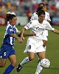 Tiffany Roberts (5) and Mia Hamm (9) at SAS Stadium in Cary, North Carolina on 6/11/03 during a game between the Carolina Courage and Washington Freedom. Carolina won the game 3-0.