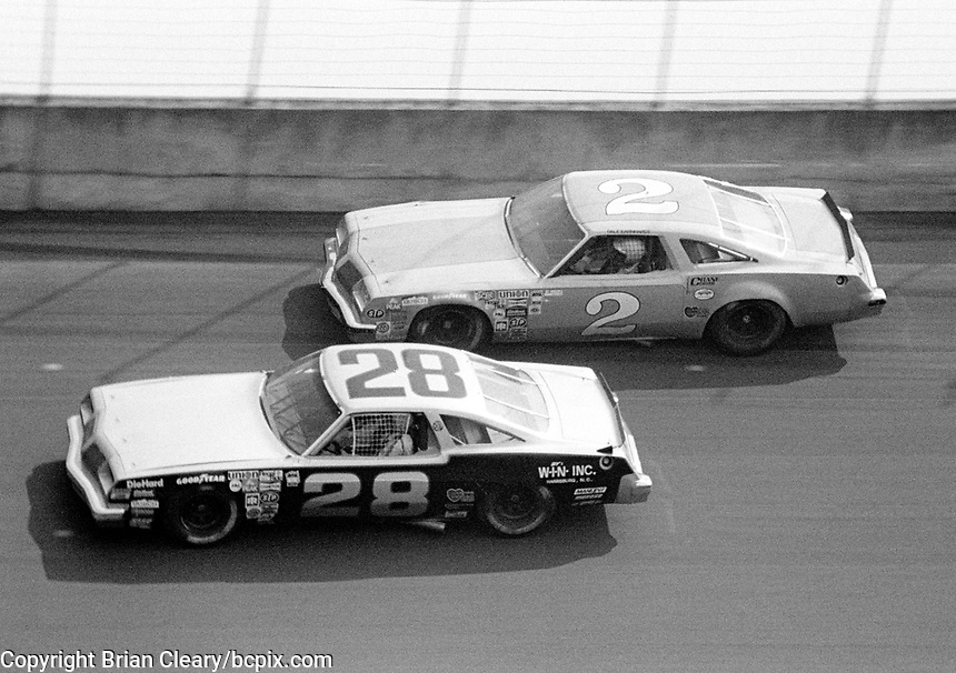 Dale Earnhardt (#2) races with Budy Baker during the 1979 Firecracker 400 at Daytona. (Photo by Brian Cleary/www.bcpix.com)