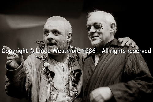 "King Lear (Anthony Hopkins) and Earl of Gloucester (Michael Bryant) in  ""King Lear"" by William Shakespeare at the National Theatre, London 1986.  Directed by David Hare and designed by Hayden Griffin."