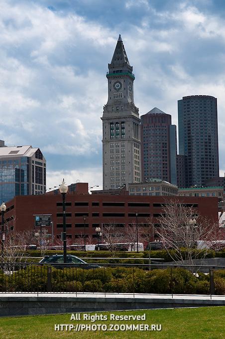 Rose Kennedy greenway with Marriott's Custom House, Boston, MA