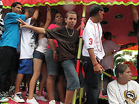 2/15/09---Young teenage boys and girls dance to reggaeton music as they ride on a float during  the carnival in the southern town of Arroyo in Puerto Rico..Photo by Angel Valentin, copyright 2009. NO MODEL RELEASE.