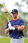 11 March 2010: Boston Red Sox first baseman Aaron Bates awaits his turn in the batting cage prior to a Spring Training game against the New York Mets at Tradition Field in Port St. Lucie, Florida. The Red Sox defeated the Mets 8-2 in Grapefruit League action. Mandatory Credit: Ed Wolfstein Photo