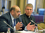Dr Audeh Quawas, a member of the executive committee of the World Council of Churches, speaks during a meeting in Budapest with Bence Retvari, the Parliamentary State Secretary of the Hungarian government Ministry of Human Resources on September 26, 2015. To the right is the Rev. Dr Olav Fykse Tveit, general secretary of the WCC. The meeting was part of a visit to Hungary by leaders of the WCC, the Conference of European Churches (CEC) and the Churches' Commission for Migrants in Europe (CCME). The visit sought to strengthen efforts to support refugees and migrants. Members of the delegation met with Hungarian church leaders, government officials and members of international organizations. Quawas, a former member of the Jordanian Parliament, is also a member of the WCC Central Committee and the Commission of the Churches on International Affairs.