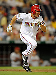 10 July 2008: Washington Nationals' third baseman Pete Orr smacks a double in the tenth inning against the Arizona Diamondbacks at Nationals Park in Washington, DC. The Diamondbacks defeated the Nationals 7-5 in 11 innings to take the rubber match of their 3-game series in the Nation's Capitol...Mandatory Photo Credit: Ed Wolfstein Photo