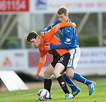St Johnstone v Dundee United.....29.12.13   SPFL<br /> Paul Paton fends off David Wotherspoon<br /> Picture by Graeme Hart.<br /> Copyright Perthshire Picture Agency<br /> Tel: 01738 623350  Mobile: 07990 594431