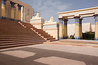 Morocco - Ouarzazate - An Egyptian temple within the Atlas Corporation Studio in Ouarzazate. Thanks to its clear skies and bright light, the absence of noise and the mountains and desert surrounding it, the city is the perfect setting for mostly historical and biblical movies.