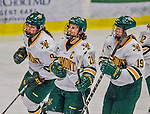 13 February 2015: University of Vermont Catamount Forward Amanda Pelkey (21), a Senior from Montpelier, VT, smiles after the Catamounts opened the scoring in first period action against the University of New Hampshire Wildcats at Gutterson Fieldhouse in Burlington, Vermont. The Lady Catamounts fell to the visiting Wildcats 4-2 in the first game of their weekend Hockey East series. Mandatory Credit: Ed Wolfstein Photo *** RAW (NEF) Image File Available ***