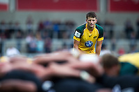 Liam Jurd of Australia U20 watches a scrum. World Rugby U20 Championship 5th Place Play-Off between Australia U20 and New Zealand U20 on June 25, 2016 at the AJ Bell Stadium in Manchester, England. Photo by: Patrick Khachfe / Onside Images