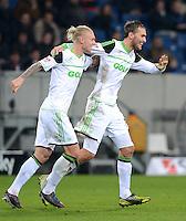 FUSSBALL  1. BUNDESLIGA  SAISON 2012/2013  14. SPIELTAG     TSG 1899 Hoffenheim - VfL Wolfsburg       18.11.2012 Jubel nach dem Tor zum 0-2 Bas Dost und Simon Kjaer (v. re., VfL Wolfsburg)