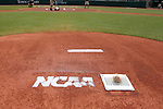 03 June 2016: The NCAA logo is stenciled on the back of the pitching mound. The Nova Southeastern University Sharks played the Millersville University Marauders in Game 13 of the 2016 NCAA Division II College World Series  at Coleman Field at the USA Baseball National Training Complex in Cary, North Carolina. Nova Southeastern won the first game of the best of three Championship Series 2-1.