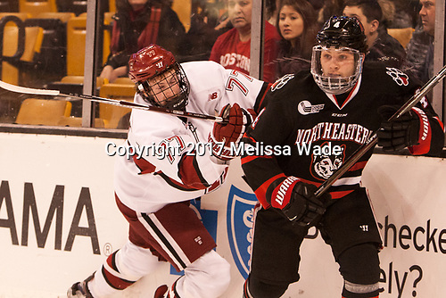 Lewis Zerter-Gossage (Harvard - 77), Jeremy Davies (NU - 4) - The Harvard University Crimson defeated the Northeastern University Huskies 4-3 in the opening game of the 2017 Beanpot on Monday, February 6, 2017, at TD Garden in Boston, Massachusetts.