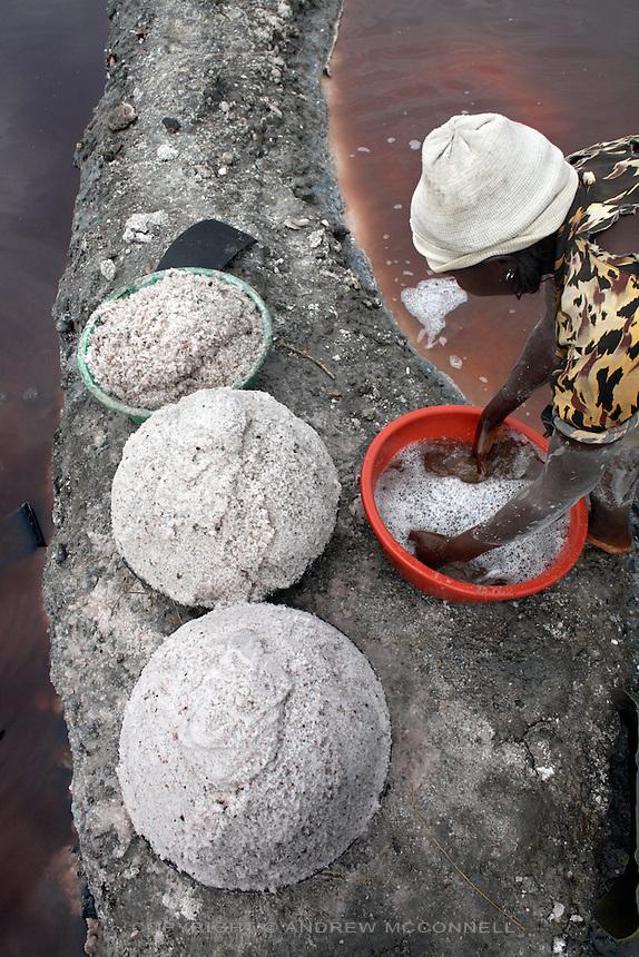 Freshly washed salt at Lake Katwe, Uganda.