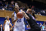 17 November 2016: Duke's Oderah Chidom (22) gets behind Grand Canyon's Tanesha Daniels (32). The Duke University Blue Devils hosted the Grand Canyon University Antelopes at Cameron Indoor Stadium in Durham, North Carolina in a 2016-17 NCAA Division I Women's Basketball game. Duke won the game 90-47.