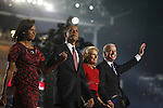 Democratic National Convention, 2008: Senator Barack Obama (D-Illinois), on stage with members of his family, Senator Joe Biden (D-Delaware), 2008 Vice-Presidential candidate, and Biden's family, after accepting the Democratic Party's nomination to be its 2008 Presidential candidate. Invesco Field, Denver, Colorado, August 28, 2008.