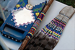 Close up of Native American Pow Wow Regalia. Examples of ethnic pride, heritage and traditional folk art crafts.