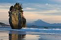 Sea stack with Mount Taranaki (Mount Egmont) in background,  North Taranaki Bight