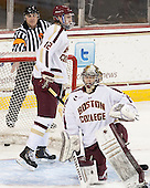 John Gravallese signals Anders Franzon's (UVM - 27) goal (not pictured). - The Boston College Eagles defeated the University of Vermont Catamounts 4-1 on Friday, February 1, 2013, at Kelley Rink in Conte Forum in Chestnut Hill, Massachusetts.