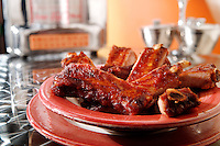 BBQ spare ribs in an american diner setting