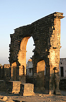 Roman Triumphal Arch at sunset, 3rd century AD, memorial to Cornelius Palma who conquered Bosra in 106 AD, Bosra, Syria Picture by Manuel Cohen