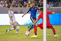 CARSON, CA - August 8, 2014: San Jose Earthquake forward Chris Wondolowski (8) strikes his goal kick during the LA Galaxy vs San Jose Earthquakes match at the StubHub Center in Carson, California. Final score, LA Galaxy 2, San Jose Earthquakes 2.