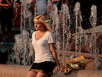 Young girl from Minsk, Belarus enjoying the evening sun in the Republic Square 6/9/2008