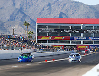 Feb 25, 2017; Chandler, AZ, USA; NHRA top sportsman driver Mike Lucas (left) races alongside Don Meziere during qualifying for the Arizona Nationals at Wild Horse Pass Motorsports Park. Mandatory Credit: Mark J. Rebilas-USA TODAY Sports