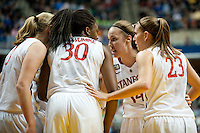 INDIANAPOLIS, IN - APRIL 3, 2011: Kayla Pedersen huddles with teammates against Texas A&M at Conseco Fieldhouse during the NCAA Final Four  in Indianapolis, IN on April 1, 2011.