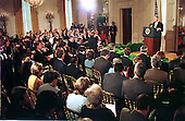 Washington, DC - March 19, 1999 -- Wide view of United States President Bill Clinton's press confrence on March 19, 1999..Credit: Ron Sachs / CNP