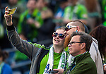 Seattle Sounders fans take selfies befoe their game against the New England Revolution during an MLS match on March 8, 2015 in Seattle, Washington.  The Sounders beat the Revolution 3-0.  Jim Bryant Photo. ©2015. All Rights Reserved.