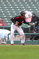 Rochester Red Wings designated hitter Byron Buxton (53) leads off first base against the Scranton Wilkes-Barre Railriders on May 1, 2016 at Frontier Field in Rochester, New York. Red Wings won 1-0.  (Christopher Cecere/Four Seam Images)