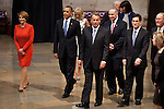 Congressional minority leader Nancy Pelosi, President Barack Obama and majority leader John Boehner walk through the US Capitol Rotunda after the inaugural luncheon, January 21, 2013 in Washington, D.C.