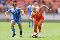 Houston, TX - Saturday April 15, 2017: Danielle Colaprico and Rachel Daly race for a loose ball during a regular season National Women's Soccer League (NWSL) match won by the Houston Dash 2-0 over the Chicago Red Stars at BBVA Compass Stadium.