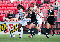 Hayley Brock (27) of Maryland sprints past Jackie McSally (6) of Wake Forest during the game at Ludwig Field in College Park, MD.  Maryland defeated Wake Forest, 1-0.