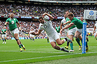 Jonny May of England dives for the try-line but the score is soon ruled out because of a forward pass. QBE International match between England and Ireland on September 5, 2015 at Twickenham Stadium in London, England. Photo by: Patrick Khachfe / Onside Images