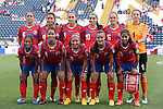 24 October 2014: Costa Rica's starters. Front row (left to right): Diana Saenz (CRC), Daniela Cruz (CRC), Lixy Rodriguez (CRC), Melissa Herrera (CRC), Shirley Cruz (CRC). Back row (left to right): Carol Sanchez (CRC), Raquel Rodriguez Cedeno (CRC), Carolina Venegas (CRC), Wendy Acosta (CRC), Katherine Alvaredo (CRC), Dinnia Diaz (CRC). The Costa Rica Women's National Team played the Trinidad & Tobago Women's National Team at PPL Park in Chester, Pennsylvania in a 2014 CONCACAF Women's Championship semifinal game, which serves as a qualifying tournament for the 2015 FIFA Women's World Cup in Canada. Costa Rica advanced to the championship game, and qualified for next year's Women's World Cup, by winning the penalty shootout 3-0 after the game ended in a 1-1 tie after double overtime.