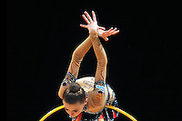 Yana Lukonina of Russia performs with hoop during All Around competition at World Cup Montreal on January 29, 2011.  (Photo by Tom Theobald).