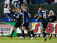 Chris Wondolowski of Earthquakes and Bobby Burling of the Earthquakes celebrate with teammates after Wondolowski made an assist to Gjertsen's goal during the second half of the game against Red Bull at Buck Shaw Stadium in Santa Clara, California.  San Jose Earthquakes defeated New York Red Bulls, 4-0.