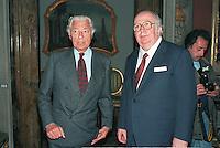 Roma .Gianni Agnelli e Giovanni Spadolini, Presidente del Senato