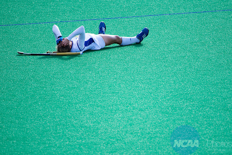 NORFOLK, VA - NOVEMBER 20:  Ally Pollak (6) of the University of Delaware is injured against the University of North Carolina during the Division I Women's Field Hockey Championship held at the LR Hill Sports Complex on November 20, 2016 in Norfolk, Virginia.  Delaware defeated North Carolina 3-2 for the national title. (Photo by Jamie Schwaberow/NCAA Photos via Getty Images)