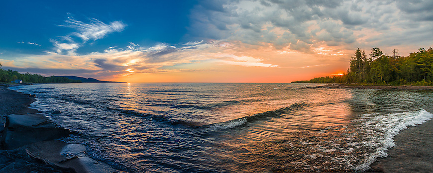 This image won an Honorable Mention Award in the Lucie Foundation's 11th Annual International Photography Awards in October, 2013. It was selected from among more than 18,000 entries from 104 countries.<br /> <br /> The image is a composite that shows both sunrise and sunset from the same location on Lake Superior near Silver City in the Upper Peninsula of Michigan.