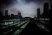 Warsaw 07.04.2008 Poland<br /> Nightfall.View of the centre of Warsaw with the highest buildings in Polish Capitol<br /> (Photo by Adam Lach / Napo Images for Newsweek Polska)<br /> <br /> Zmrok.Widok na centrum Warszawy z najwyzszymi budynkami w stolicy<br /> (Fot Adam Lach / Napo Images dla Newsweek Polska)
